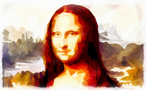 Tablou Canvas My painting reproduction of Mona Lisa by Leonardo da Vinci and poligon effect