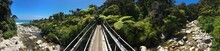 Suspension Bridge Over Stream On Heaphy Track, With Nikau Palms And Beach Visible, New Zealand