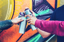 Group Of Graffiti Artists Stac...