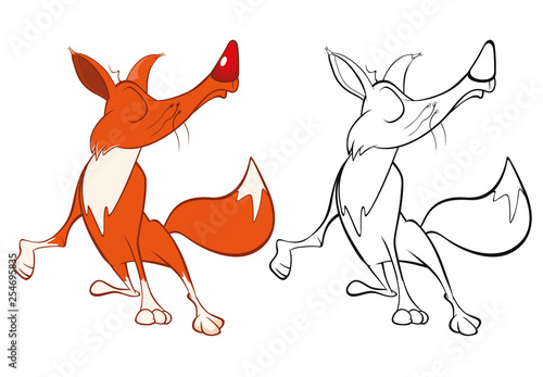 Fotobehang Babykamer Vector Illustration of a Cute Cartoon Character Red Fox for you Design and Computer Game. Coloring Book Outline Set