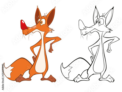 Vector Illustration of a Cute Cartoon Character Red Fox for you Design and Computer Game. Coloring Book Outline Set