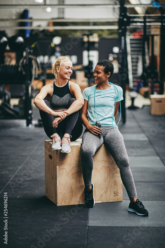 Pinturas sobre lienzo  Fit young women laughing together after a gym workout