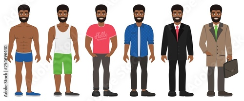 Smiling Handsome Afro Man In Different Types Clothes Casual