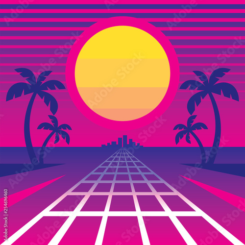 Tropical sanset and way to city - concept vector illustration in retro style of synth wave music '80 s Wallpaper Mural