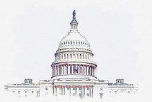 Watercolor Sketch Or Illustration Of A Beautiful View Of The US Capitol Building In Washington DC In The USA