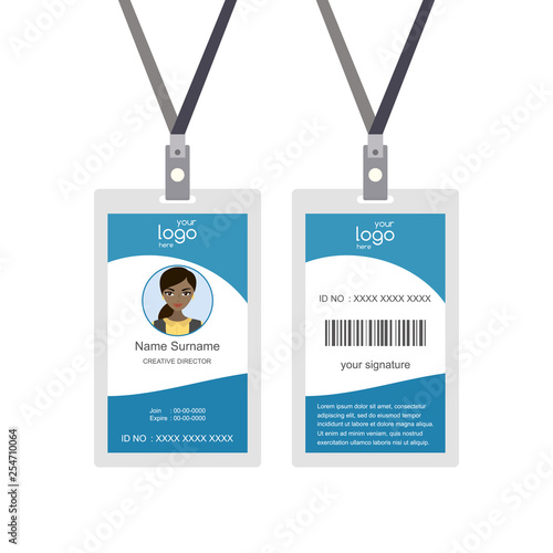 Plastic and Laminated Badge or id card, front and back view Canvas Print