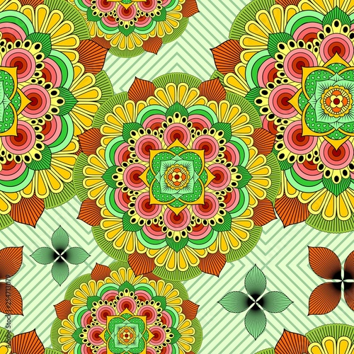 Door stickers Draw Mandala African Zen Floral Ethnic Art Textile Seamless Pattern Vector Design