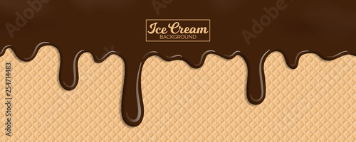 Fotografie, Obraz chocolate ice cream on wafer background