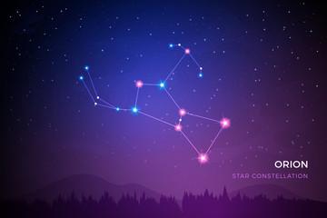 Orion star constellation on the beautiful night sky vector illustration