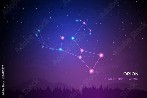 Canvastavla Orion star constellation on the beautiful night sky vector illustration