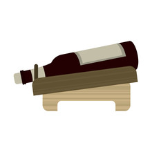 Wine Bottle In Wooden Holder