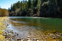 The Rogue River Flows Through Casey State Recreation Site Near Medford, Oregon