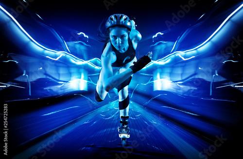 Stampa su Tela Professional beautiful woman roller skating