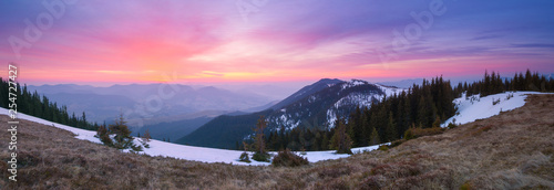 Stickers pour porte Pierre, Sable Panorama of the mountains with the dawn