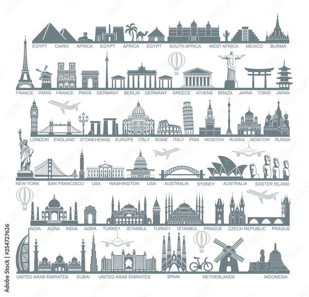 Fototapeta Icons world tourist attractions and architectural landmarks