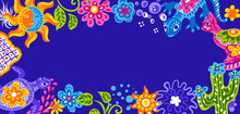 Mexican Background With Cute Naive Art Items.