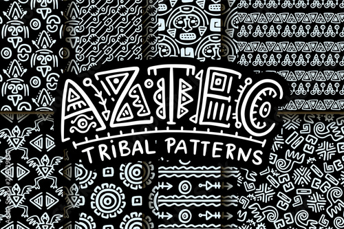 Photo  Seamless aztec vector pattern.