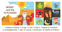 Passover Ten Plagues Of Egypt With Moses - Vector