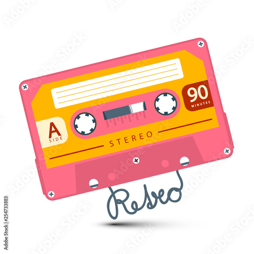 Fotografía  Pink Audio Cassette with Retro Symbol Isolated on White Background