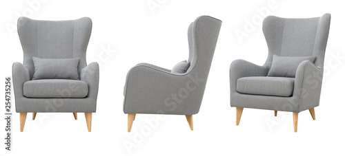 Fotografie, Obraz  Chair from gray fabric in the Scandinavian style