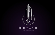 Silver Metal Real Estate Modern Monogram Logo Design. Real Estate Lines Abstract Buildings Icon.