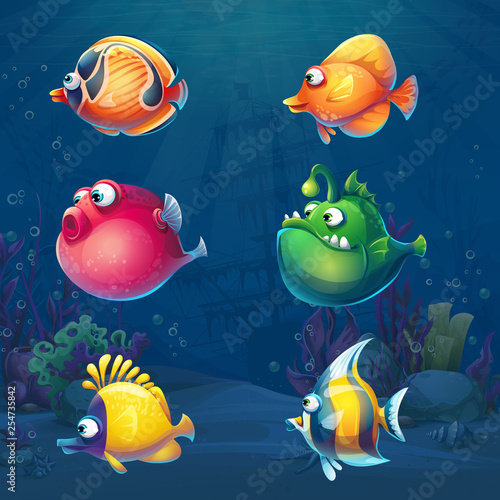 Fototapeta Set of cartoon funny fish in underwater world obraz