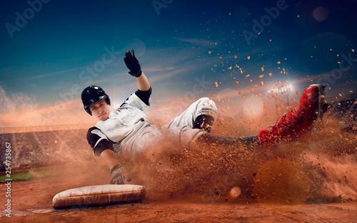 Foto auf AluDibond Blaue Nacht Baseball