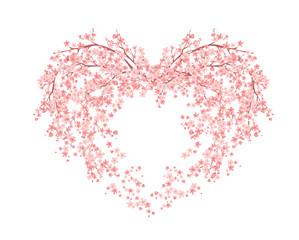 Fototapetablooming flower heart made of sakura tree blossom - spring season love symbol vector design
