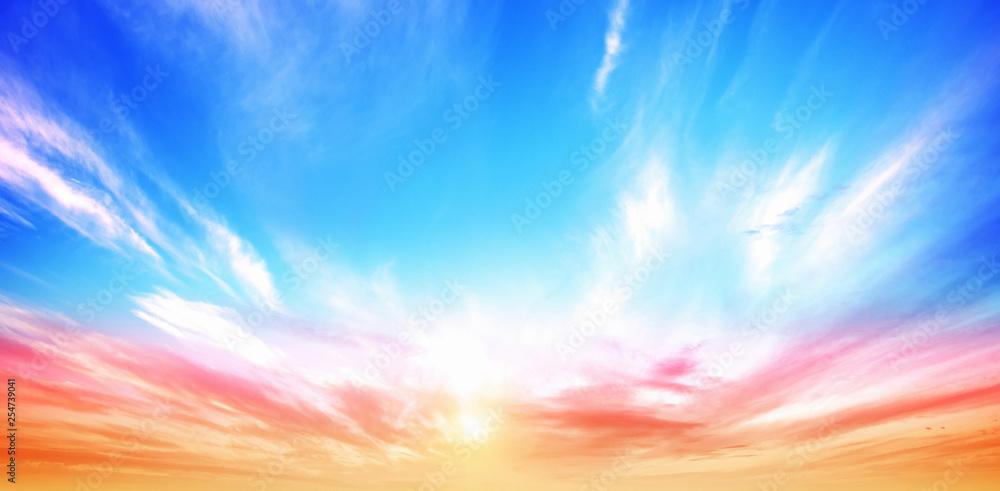Fototapeta Sunrise summer sky panorama