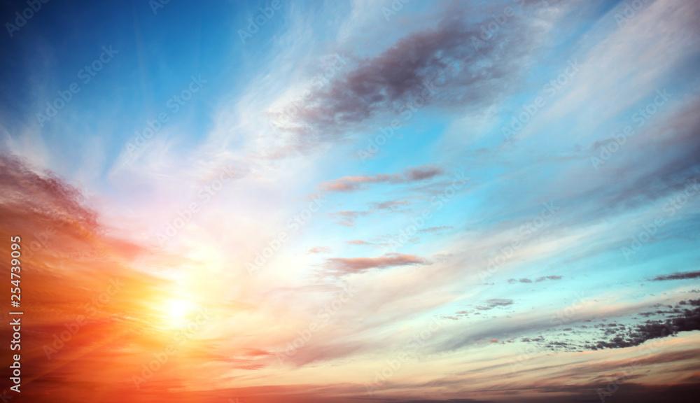 Fototapety, obrazy: Sunrise summer sky panorama