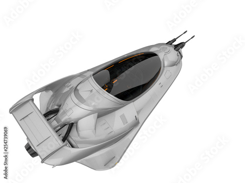 alien pocket aircraft space ship exploring around in a white background