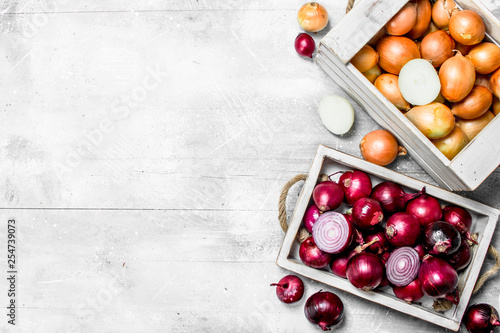 Fotomural  Yellow onions in the box and red onions on the tray.