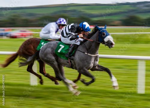 Fototapeta Jockey and race horse in competing in a race, speeding fast motion blur