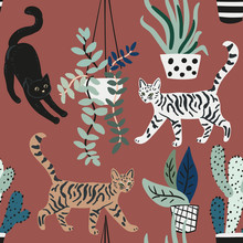 Cute Cats And House Plants On The Brown Background. Vector Seamless Pattern. Pets And Green Florals In The Pots. Nature Print. Digital Illustration With Animals