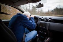 Man Driving Car And Falling Asleep At The Wheel, Transportation Concept