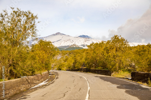 Fényképezés  Road to volcano and snow covered Etna Mount, Sicily, Italy