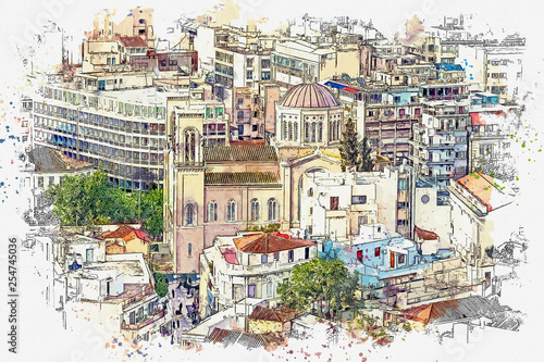 Watercolor sketch or illustration of a beautiful view of the city architecture o Canvas Print