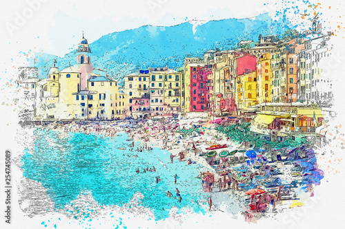 Photo  Watercolor sketch or illustration of the beautiful view of Camogli - a commune i