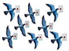 A Flock Of Birds Fly With Lett...