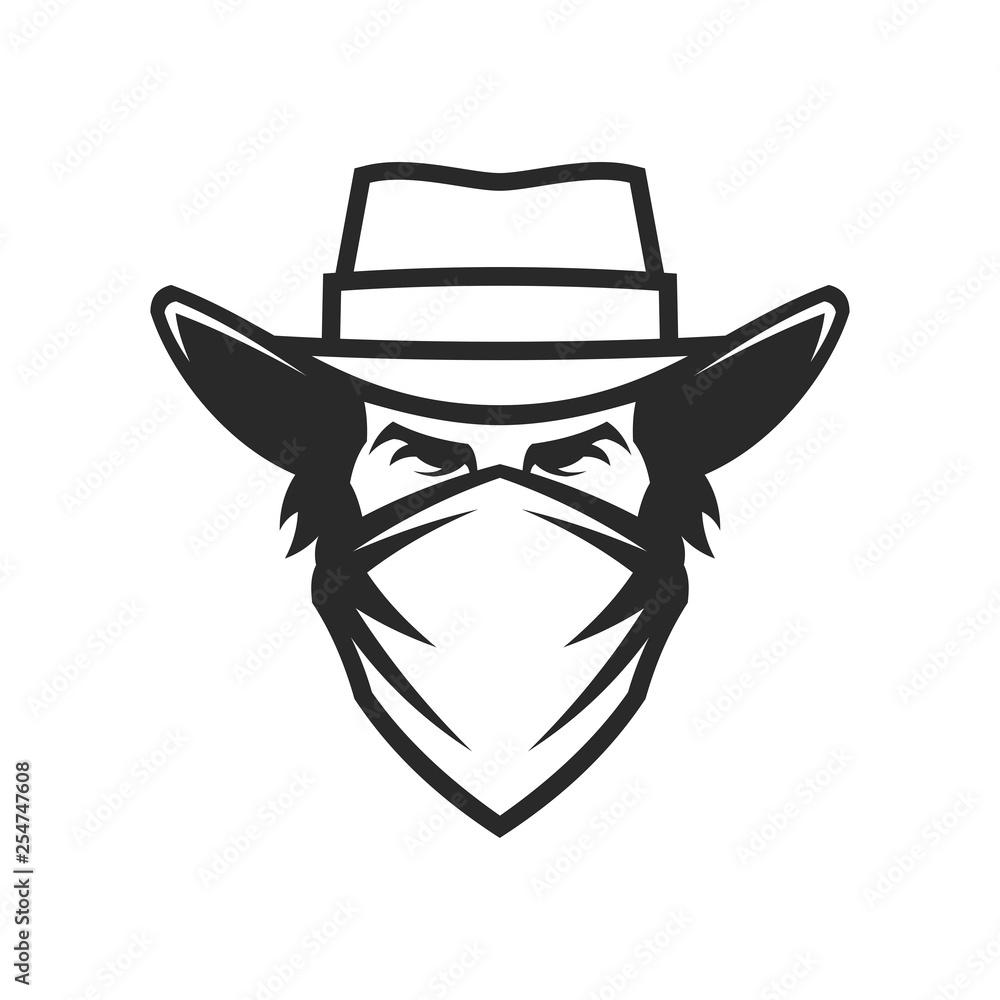 Fototapeta Male head in cowboy hat and bandana
