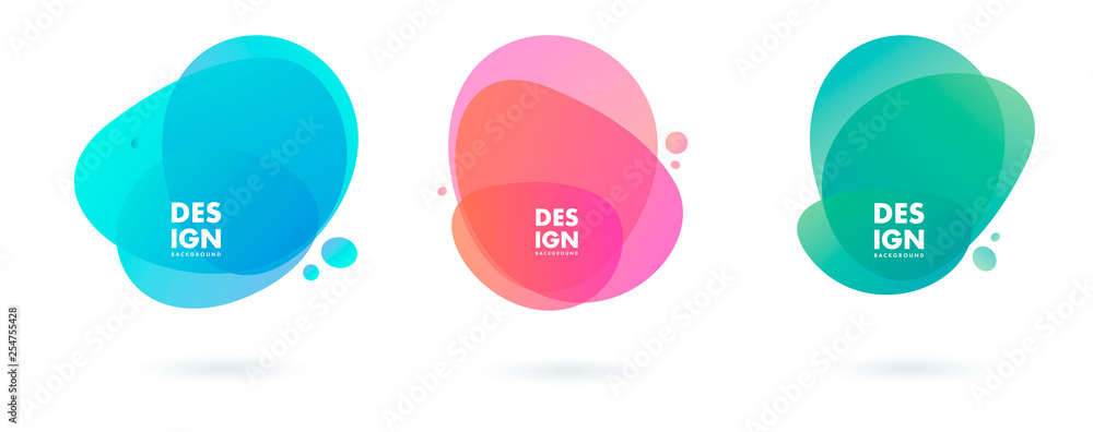 Fototapety, obrazy: Set of abstract modern graphic elements. Dynamical colored forms and line. Gradient abstract banners with flowing liquid shapes. Template for the design of a logo, flyer or presentation. Vector.