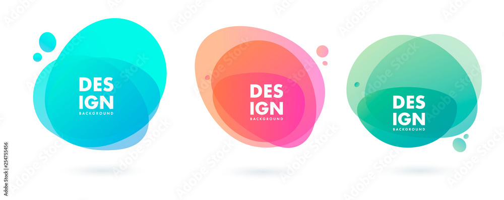Fototapeta Set of abstract modern graphic elements. Dynamical colored forms and line. Gradient abstract banners with flowing liquid shapes. Template for the design of a logo, flyer or presentation. Vector.