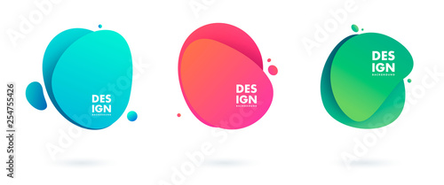 Fototapeta Abstract liquid shape. Fluid design. Isolated gradient waves with geometric lines, dots. Vector illustration. obraz