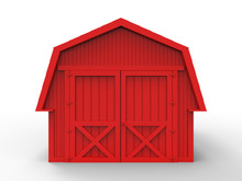 3D Render - Front View Of A Red Barn