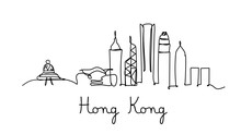 One Line Style Hong Kong City ...