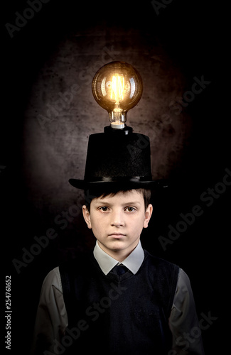 Excellent idea, kid with edison bulb above his head Wallpaper Mural