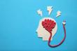 Plasticine head and brain concept. Smart mind, neurology knowledge.