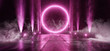Smoke Circle Sci Fi Futuristic Background Vibrant Purple Ultraviolet Pink Neon Arc  Big Huge Dark Empty Grunge Concrete Long Hall Gallery Room Tunnel Corridor Spotlights Glowing 3D Rendering