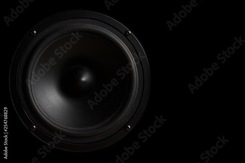 Black Music speaker on a black isolated background. Party or music listening concept. - 254768829