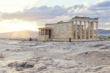 View Of Erechtheion Against Cloudy Sky During Sunset